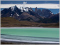 A salt lake Laguna Amarga with magnificent granite spires of Torres del Paine National Park, Chile.