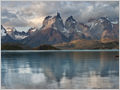 A windless moment on Lake Pehoé with Cuernos del Paine in the background, Torres del Paine National Park, Chile.