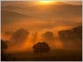 A spectacular sunrise over the misty hills near San Quirico D'Orcia, Tuscany, Italy.