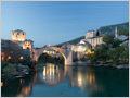 Mostar with it's iconic stone bridge, Bosnia and Herzegovina.
