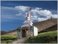 Chorten among the barley fields of Photoskar village, Ladakh, Jammu and Kashmir, India.