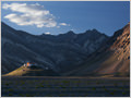Rangdum gompa (monastery) lit by the last ray of sun, Ladakh, Jammu and Kashmir, India.