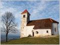 The church of St. Ann (Sv. Ana) above the village of Podpeč near Ljubljana, Slovenia.