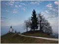 Winding path leading to the church of St. Primož and Felicijan near the village of Jamnik, Gorenjska, Slovenia.