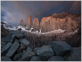 Granite rocks on glacial moraine below the famous spires of Torres del Paine National Park, Patagonia, Chile.