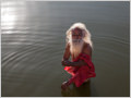 An old saddhu with white hair and beard taking a morning bath in Pushkar lake, Rajasthan, India.