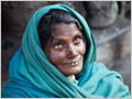 A portrait of a woman on the streets of Varanassi, Uttar Pradesh, India.