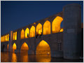 The bridge of thirty-three spans, the longest bridge on Zayandeh-Rood river, is one of the eleven bridges of Isfahan, Iran.