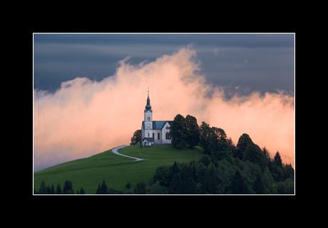 The church of St. Leonard (Sv. Lenart) at sunset, Črni Vrh, Slovenia.