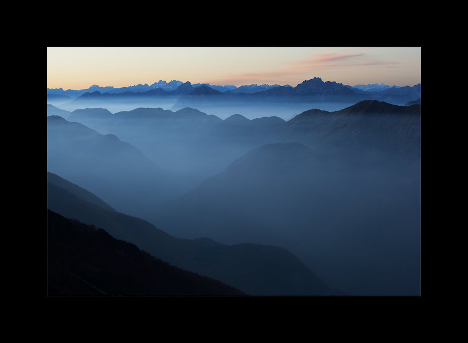 An evening view from Mt. Kobariški Stol towards Italy, Julian alps, Slovenia.