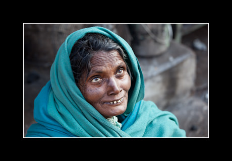 A portrait of a woman on the streets of Varanassi, Uttar Pradesh, India.