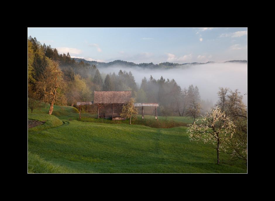 Traditional hayracks in the village Jarčje Brdo, Škofjeloško hribovje, Slovenia.